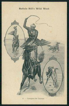 Circus Buffalo Bill Wild West & Russia Cossacks original old 1910s postcard