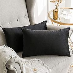 """MIULEE Velvet Soft Soild Microfiber Decorative Square Pillow Case Throw Cushion Cover for Sofa Bedroom Car with Invisible Zipper Black 12""""x20"""",2 Pieces: Amazon.co.uk: Kitchen & Home"""