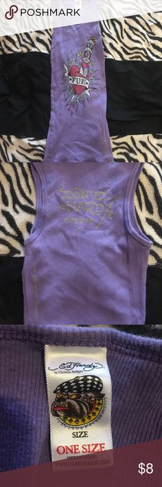 Ed Hardy graphic one size stretchy purple tank top Ed Hardy one size stretchy purple tank top with heart design Ed Hardy Tops Tank Tops
