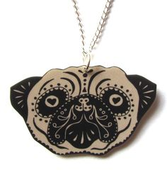Sugar Skull Style Pug Necklace in Black and Tan by by DollyCool, $12.00