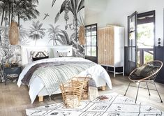Discover Maisons du Monde's [product_name]. Browse a varied range of stylish, affordable furniture to add a unique touch to your home. Art Deco Bedroom, Bedroom Wall, Bedroom Decor, Black And White Wallpaper, Affordable Furniture, My New Room, Interior Design, Home Decor, Jungle Print