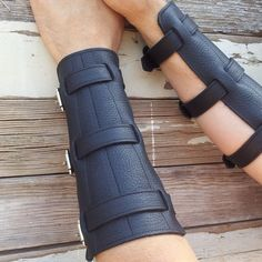 Steampunk Black Leather Bracers or Gauntlets with by VampieOodles, $44.00