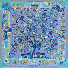 "Fantaisies Indiennes | Hermès plume silk twill giant scarf, 55"" x 55"" (100% silk) | Ref. : H431744S 04 lavander | $780 | Designed by Loïc Dubigeon"