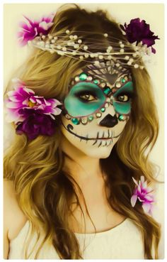 Halloween make-up ideas are the creepy make-up idea is particularly suitable for Halloween women. 60 Creepy Makeup Ideas for women – Makeup Sugar Skull. Halloween Costumes To Make, Looks Halloween, Fete Halloween, Holidays Halloween, Diy Costumes, Halloween 2015, Costume Ideas, Skeleton Costumes, Halloween Halloween