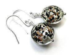 Murano Glass Lentil Earrings - Luna White Gold Murano Glass Beads, Black Glass, Clear Glass, Sterling Silver Jewelry, White Gold, Bracelets, Earrings, Ear Rings, Stud Earrings