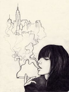 Moleskine art - Urban Effing Cancer by sol-Escape . Sketch / Drawing Inspiration THE city is so simple but so beautiful Cool Sketches, Drawing Sketches, Cool Drawings, Sketch Art, Love Sketch, Music Sketch, City Sketch, Creative Sketches, Illustrations