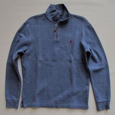 Polo Ralph Lauren 1/2 zip Blue Men's Ribbed Knit Casual Pullover Shirt Small S #PoloRalphLauren #PullOver