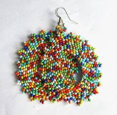 Boucles d'oreilles percées, personnalisables N°2, tissées en perle de rocailles
