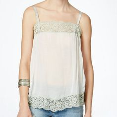 MD SALE! Free People Lace Trim Tank Ivory & Beautiful! Free People Tops