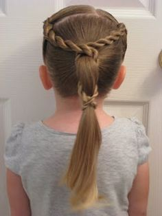 Corkscrew Wrapped Ponytail, very cute updo for little girls.