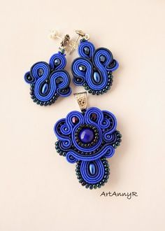 Sutaszowe różności Soutache Pendant, Soutache Necklace, Boho Jewelry, Beaded Jewelry, Jewelery, Brooches Handmade, Handmade Jewelry, Beaded Brooch, Pendant Set