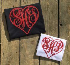 Valentine's Day shirt, Monogram Heart shirt, womens Monogrammed shirt, girls valentine shirt, glitter heart monogram, valentine gift