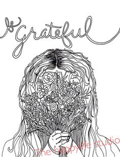 be grateful coloring page adult coloring page girl with