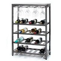 Very Stylish, contemporary wine bottle and glass rack.  FREE SHIPPING!