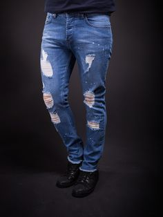 K&B Men Slim Fit Simply Ripped Stains Jeans 295 - Blue