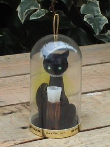 LEN gave me Hypotique in this package   Vintage Max Factor Hypnotique Perfume in Dome with Black Cat Holder, Circa 1950s