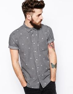 ASOS Denim Shirt In Short Sleeve With Geo Print - ASOS £25.00