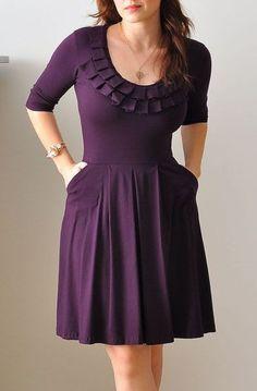 Purple Bridesmaid Dress With 3/4 Sleeves