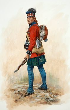 Private, 42nd Foot (the Black Watch), North American, 1777. The blue leggings are in fact high winter-issue gaiters. Art by Don Troiani.