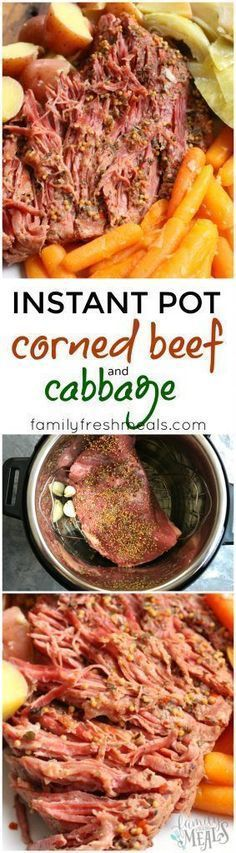 Instant Pot Corned Beef and Cabbage 4-5 garlic cloves 4 cups water 2.5-3 lb. corned beef brisket, including spice packet or DIY spice packet 2 lbs petite red potatoes, quartered 3 cups baby carrots 1 head green cabbage, cut into large wedges