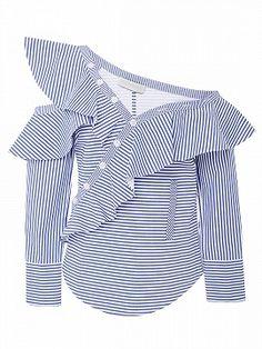 Self Portrait Ruffled Striped Cotton-Poplin Top Off Shoulder Shirt, Shoulder Tops, Cold Shoulder, Green Mini Skirt, Frill Tops, Girl Fashion, Womens Fashion, Fashion Trends, Urban Chic