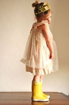 #kidFashion little princess ready for Coachella  Remember when kids dressed for their sense of occasion? Too often we dress them in department store uniforms to look like mini hip adults when all they really want to look like is a princess in gumboots.