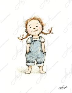 The drawing of little girl in blue pants. Little Girl Cartoon, Little Girl Drawing, Cute Little Girls, Cartoon Drawings, Cute Drawings, Little Girl Illustrations, Children's Book Illustration, Digital Illustration, Cute Girl Illustration