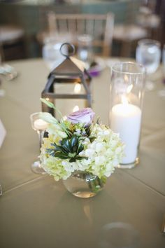 The River House, Green & Purple wedding, lantern and candle centerpieces