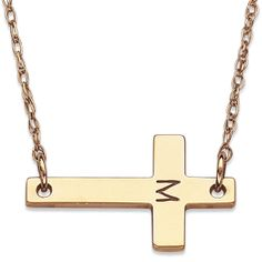 10K Gold Engraved Initial Cross Necklace