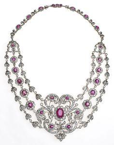 Diamond and ruby bib necklace, circa 1880. Via Diamonds in the Library.