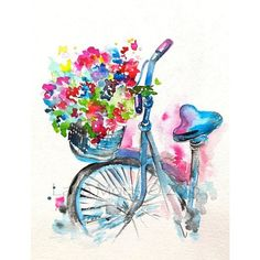 Original Watercolor Summer in Paris Illustration, Bicycle Art,... ❤ liked on Polyvore featuring home, home decor, wall art, watercolor illustration, bike wall art, bicycle home decor, inspirational home decor and water color painting
