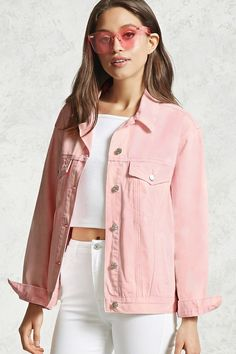 Light pink. Jacket in washed denim with metal buttons. Collar ...