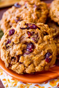 Soft-Baked Pumpkin Oatmeal Cookies filled with your favorites like dried cranberries, pumpkin seeds, and chocolate chips!