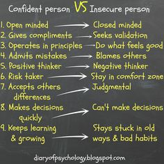 #Confident person VS #insecure person.  Improve your confidence by increasing your #self-esteem --> Read more on diaryofpsychology.blogspot.com