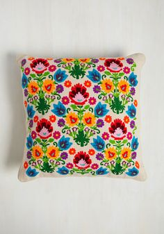 After the first day that this Karma Living throw pillow delights your living room, you're guaranteed to feel fantastic about your interior design decision! Its 100% cotton cover takes on a natural hue, atop which color-bursting blossoms are embroidered, bringing haute vibrance to your home.