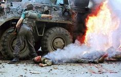 The burning BTR-80 of the Federal forces of the Russian Federation, the first Chechen war.