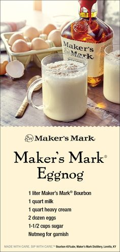 This eggnog cocktail recipe makes about 24 servings and would be perfect for a holiday party. We also have a single-serve eggnog recipe for you at Maker's Mark. Christmas Drinks Alcohol, Christmas Cocktails, Holiday Drinks, Party Drinks, Holiday Treats, Fun Drinks, Yummy Drinks, Holiday Recipes, Christmas Punch