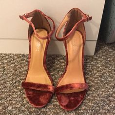 f700b30195 Shop Women's Public Desire Red size 7 Heels at a discounted price at  Poshmark. Description: public desire size 7 red velvet stiletto heels worn  once.