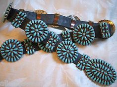 Signed Vintage Navajo Sterling Silver Turquoise Cluster Concho Belt Paul Jones | eBay