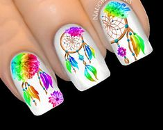 Gel Nail Designs You Should Try Out – Your Beautiful Nails Dream Catcher Nails, Country Nails, Nail Water Decals, Feather Nails, Gel Nail Art Designs, Finger Nail Art, Nail Tattoo, Pink Nail Art, Classy Nails