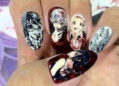 Nail art tokyo ghoul❤ uploaded by Kaneki Val on We Heart It Kawaii Nail Art, Cute Nail Art, Nail Swag, Cute Nail Designs, Acrylic Nail Designs, Anime Nails, Nagellack Design, Japanese Nail Art, Grunge Nails