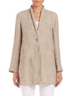 Eileen Fisher - Double-Weave Organic Linen Stand-Collar Coat