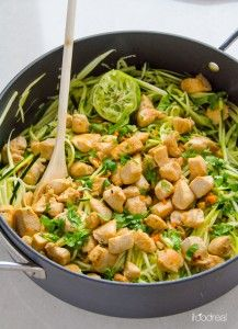 Zucchini Noodles with Cilantro Lime Chicken is delicious 20 minute, healthy and gluten free dinner idea. If you don't have a spiralizer, just chop the zucchini.   ifoodreal.com
