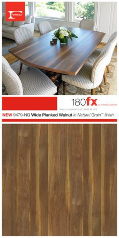 By mixing planks of walnut heartwood and sapwood, a character planked walnut pattern is achieved. Formica® 180fx® 9479-NG Wide Planked Walnut in Natural Grain™ finish is popular for kitchen islands, bar tops and bathroom vanities.