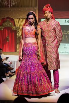 Asian Wedding Fashion Bridal Pink & Gold Groomswear Sherwani from Ekta Solanki Check out this great fashion look I found on http://www.AsianBride.me