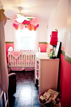 bright baby girl nursery.