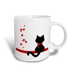 Pet Lovers Red Hearts Black Kitty Cat, Ceramic Mug, Coffee Mug Quotes, Cat Coffee Mug, Ceramic Coffee Cups, Cat Mug, Coffee Art, Coffee Time, Lapin Art, Pottery Painting Designs, 3d Rose
