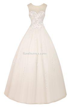 Women´s Sheer Neck Applique Beading Bridal Ball Gown Wedding Dress http://www.ikmdresses.com/Womens-Sheer-Neck-Applique-Beading-Bridal-Ball-Gown-Wedding-Dress-p90885