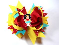 Boutique Wonder Woman Superhero Supergirl Inspired Bottle Cap Hair Bow Clip by prettybowtique on Etsy