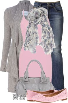 """Pink & Gray"" by colierollers ❤ liked on Polyvore"